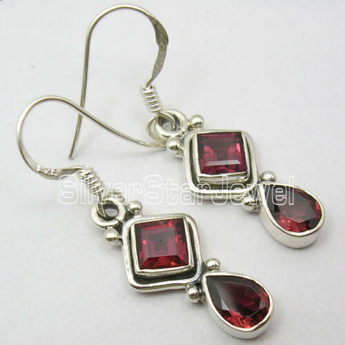 925 Silver AMAZING NATURAL GARNET Dangle Earrings 3.5CM in Jewelry & Watches, Handcrafted, Artisan Jewelry, Earrings | eBay