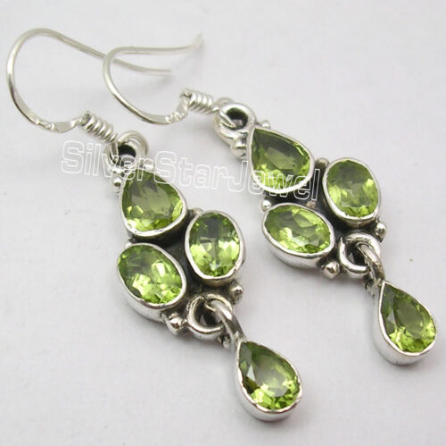 925 Silver Facetted PERIDOT Lovely Dangle Earrings 4CM in Jewelry & Watches, Handcrafted, Artisan Jewelry, Earrings | eBay