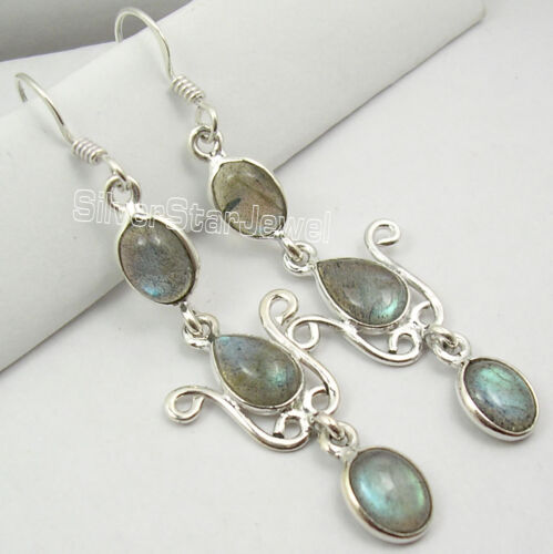 925 Silver LABRADORITE VERY LONG Dangle Earrings 5.6CM in Jewelry & Watches, Handcrafted, Artisan Jewelry, Earrings | eBay