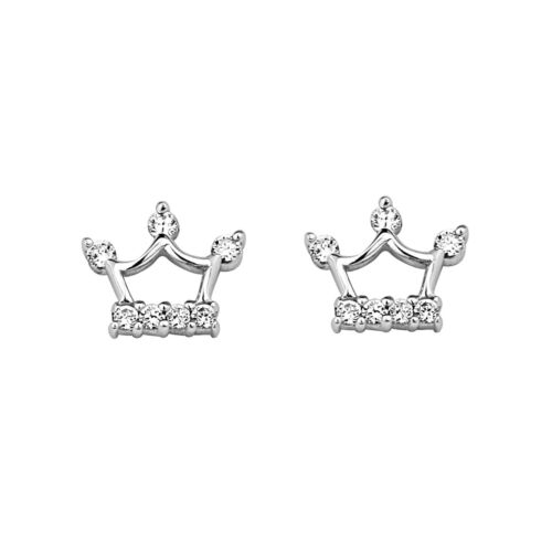 .925 Silver White Gold Plated Baby Crown Children Screw Back Earring Kid & Women in Jewelry & Watches, Children's Jewelry, Earrings | eBay