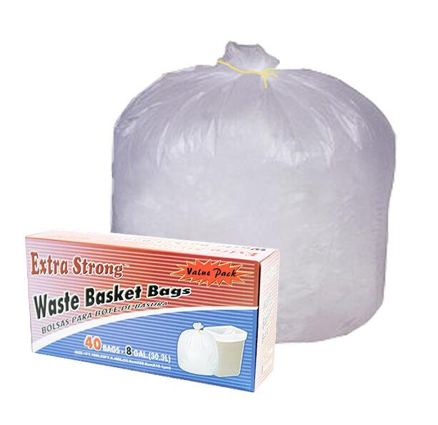960 8 Gallon White Waste Basket Trash Bag Liner Household Use Waste Garbage Bags
