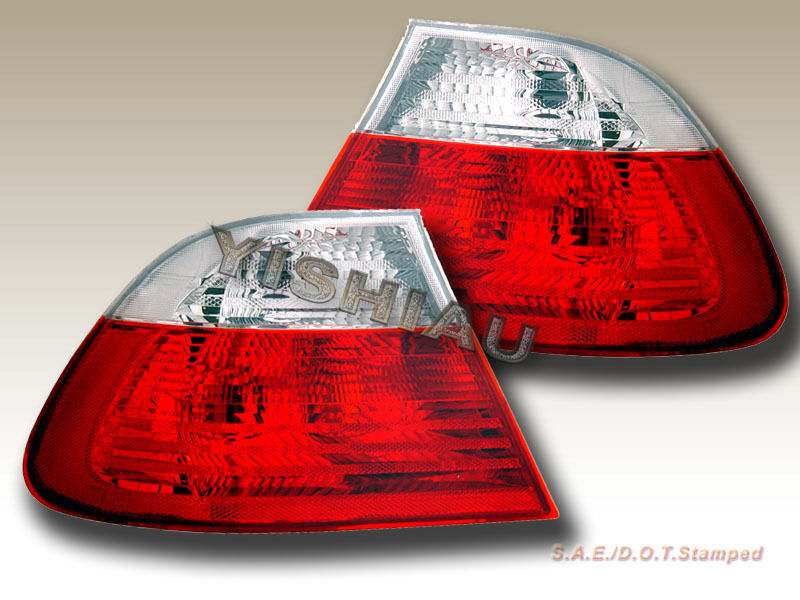 99 01 BMW 3 Series E46 Tail Lights Red & Clear 4D 2000