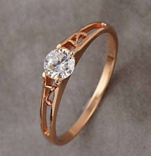 9K Rose Gold Filled CZ Solitaire Children Ring,size 5,R277 in Jewelry & Watches, Children's Jewelry, Rings | eBay