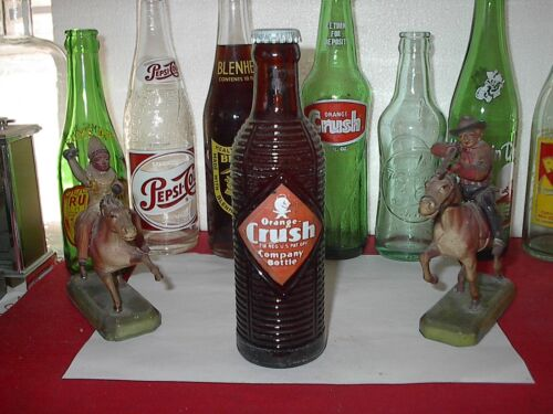A NICE FULL 7 OZS VINTAGE ACL AMBER ORANGE CRUSH SODA BOTTLE, ORIGINAL CAP in Collectibles, Bottles & Insulators, Bottles | eBay