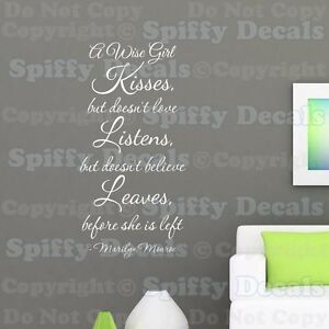 A Wise Girl Kisses Love Marilyn Monroe Quote Vinyl Wall Decal ...