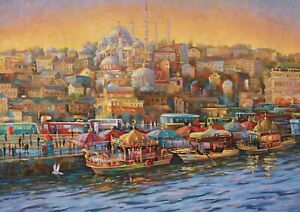 A1 | Istanbul Turkey Poster Art Print 60 x 90cm 180gsm Travel Boats Gift #12575