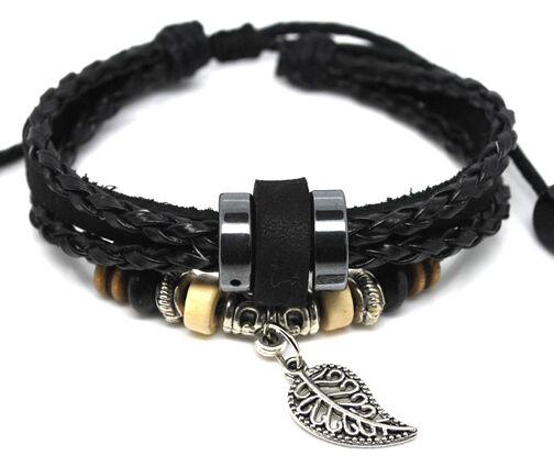 A457 Ethnic Black Leather Adjustable Bracelet Handmade Jewelry Cuff Women/Men`s
