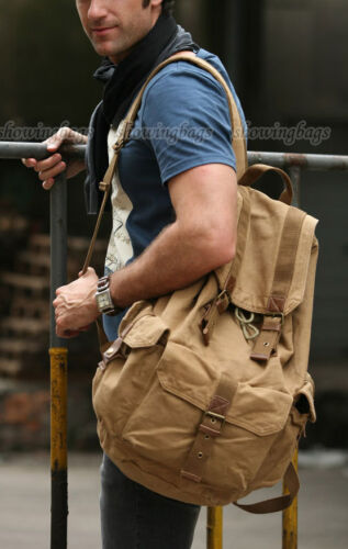 A6119 khaki Mens Vintage Canvas Hiking Travel Military Backpacks Messenger Bag in Clothing, Shoes & Accessories, Men's Accessories, Backpacks, Bags & Briefcases | eBay