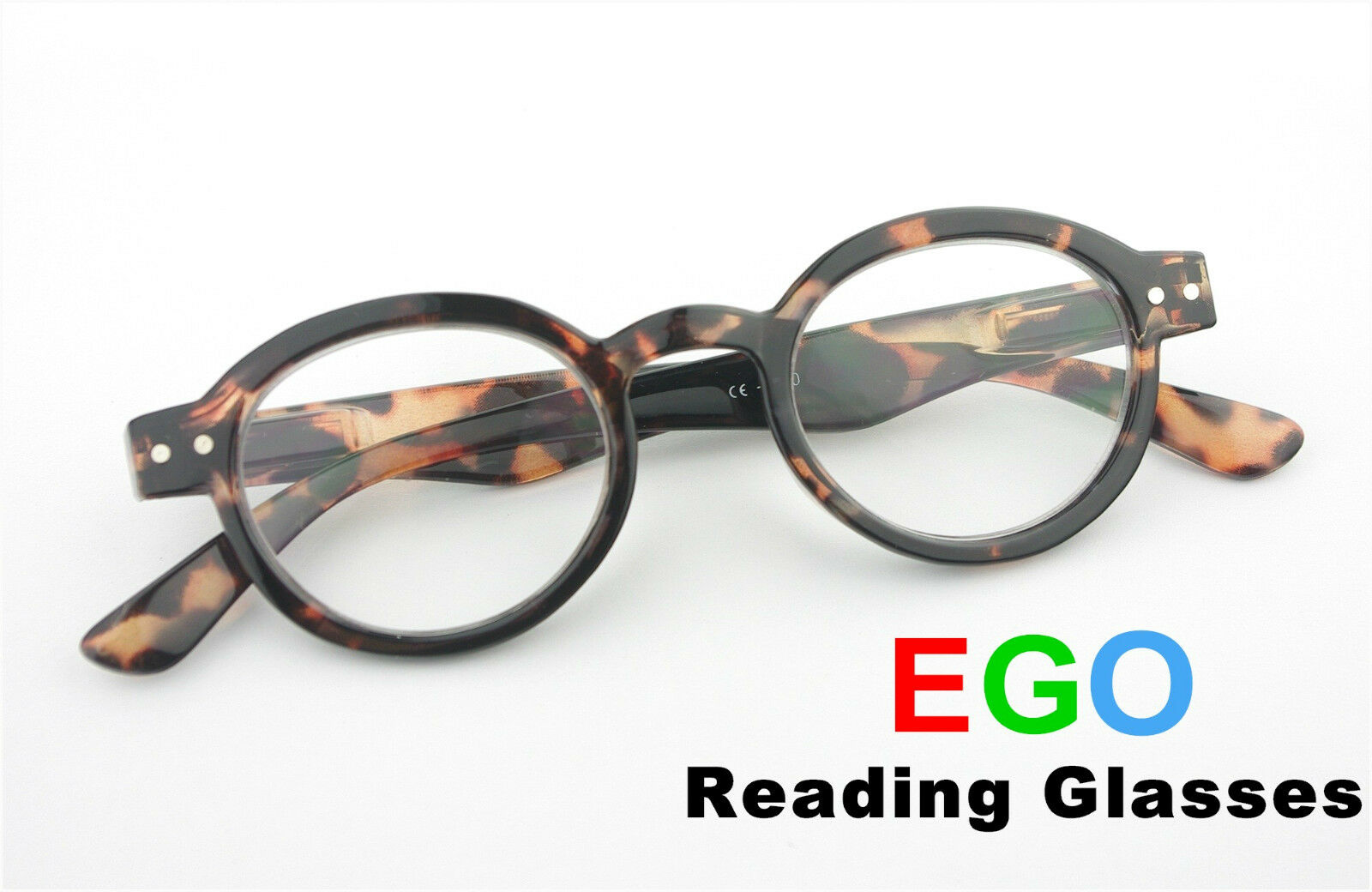 ego reading glasses tortoise metal dots
