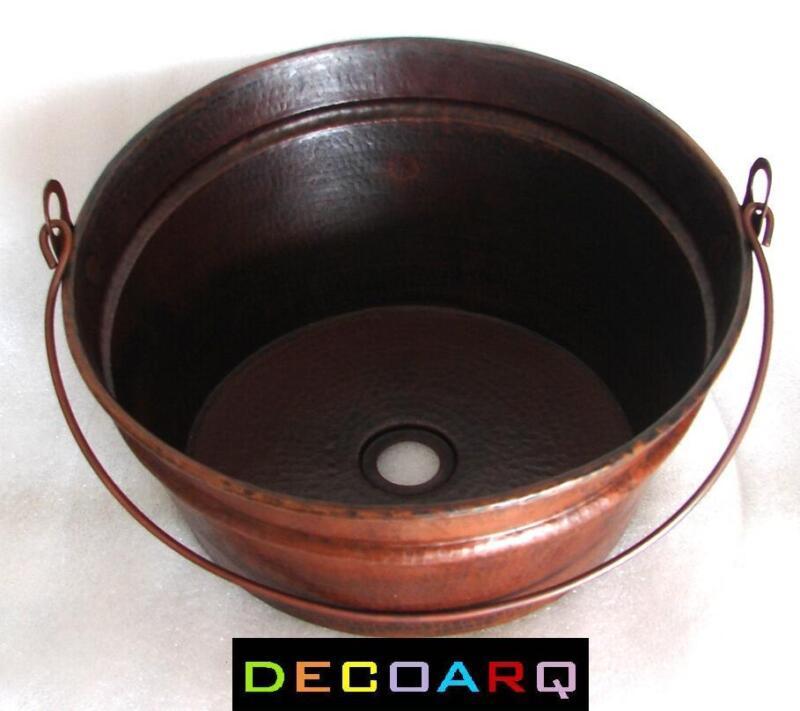 Bucket Vessel Sink : ... COUNTER INCLINED Bucket DESIGN COPPER SINK DARK PATINA FARM STYLE