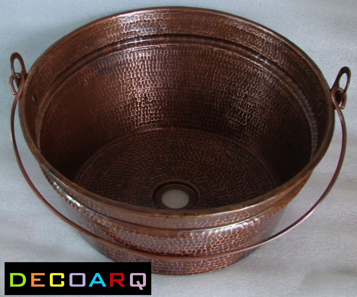 Bucket Vessel Sink : ABOVE THE COUNTER INCLINED Bucket DESIGN COPPER SINK OLD PATINA FARM ...