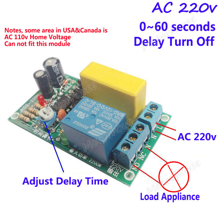 Ac 220v 0 60s Delay Time Board Relay Switch Delay Turn Off
