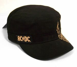 details about ac dc   angus winged guitar black military cadet hat cap