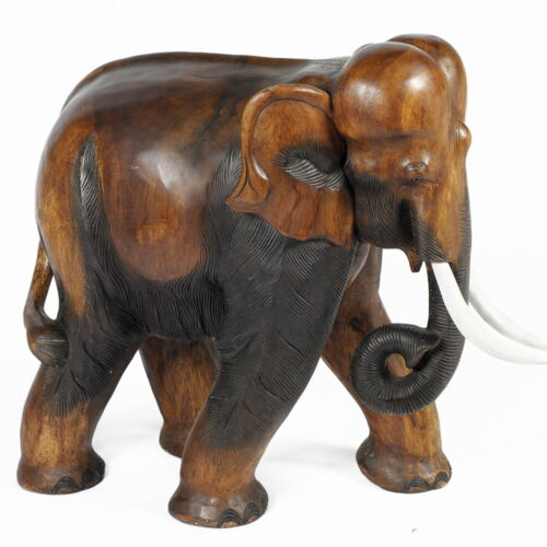 Acacia wooden elephant figure statue hand carved large