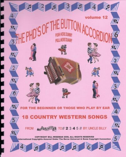 """ACCORDION MUSIC BOOK, PLAY BY #S, """"18 COUNTRY WESTERN SONGS"""", EASY & FUN in Musical Instruments & Gear, Accordion & Concertina 