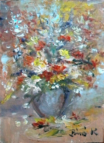 ACEO ART.Original oil painting flower still life listed art by Konrad in Art, Direct from the Artist, Paintings | eBay