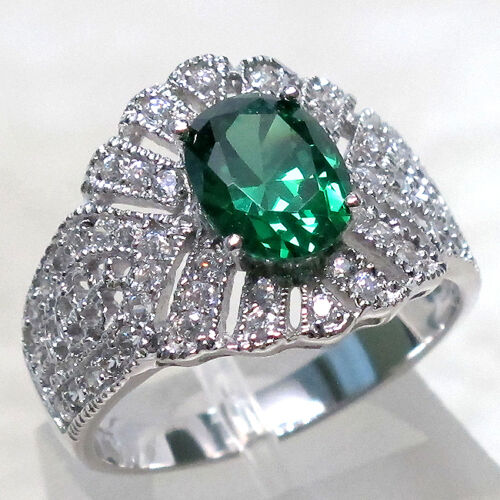 ADORABLE 2 CT EMERALD 925 STERLING SILVER MICRO PAVE RING SIZE 6.25 in Jewelry & Watches, Fine Jewelry, Fine Rings | eBay