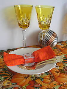 AJKA-AMBER-GOLD-CASED-CUT-TO-CLEAR-LEAD-CRYSTAL-WINE-GOBLETS-Set-of-2
