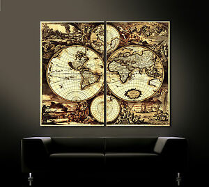 alte welt antike leinwand bild schwarz braun kunstdruck weltkarte worldmap xxl ebay. Black Bedroom Furniture Sets. Home Design Ideas