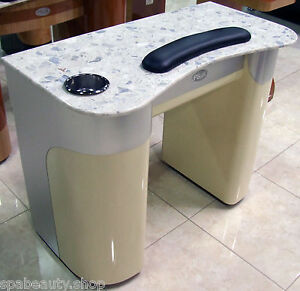 Aluminum beige marble top high end beauty salon spa nail manicure table new ebay - Slon beige ...