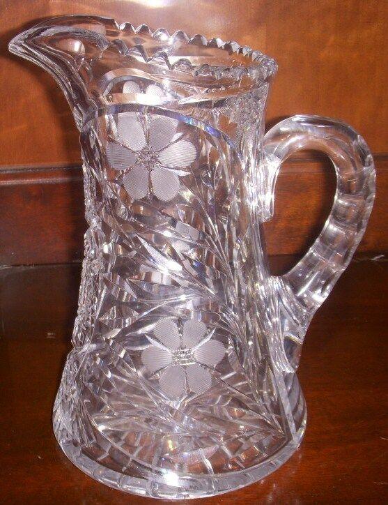 American Brillant Cut Glass Water Pitcher