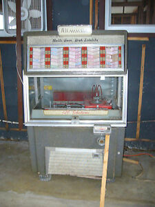 Jukebox 1950s http://www.ebay.com/itm/AMI-1950s-Jukebox-Double-Horn-High-Fidelity-WATER-DAMAGED-/321040763333