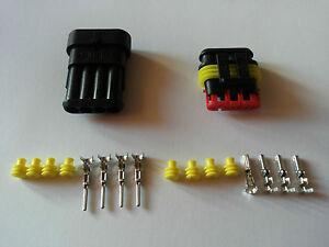 AMP-SUPERSEAL-Stecker-wasserdicht-Set-4-polig-Steckverbindung-KFZ-LKW-Boot