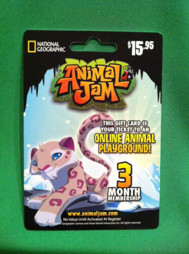 ANIMAL JAM 3 Month Membership Gift Card SNOW LEOPARD National Geographic in Gift Cards & Coupons, Gift Cards | eBay