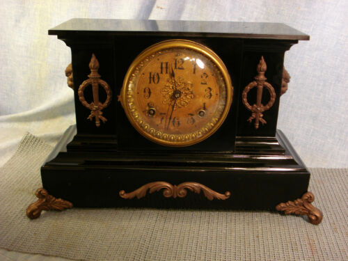 ANSONIA RARE UNIQUE ANTIQUE MANTLE CLOCK ENAMELED IRON ORIGINAL LOOKS/RUNS GREAT in Collectibles, Clocks, Antique (Pre-1930) | eBay