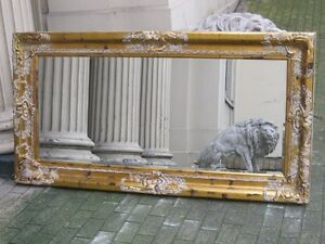 Antique aged gold ornate large huge french bevelled mirror for 7 foot mirror