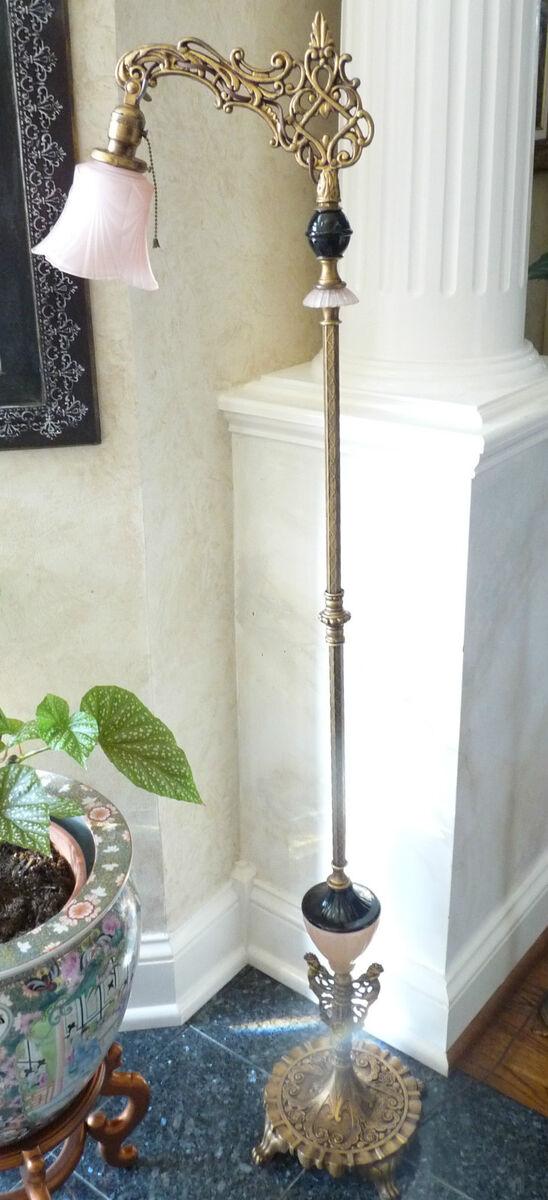Antique Art Deco Bridge Floor Lamp Pink Coralex Black Houze Slag Glass Shade
