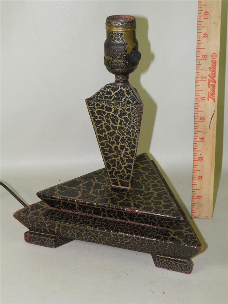 Antique Art Deco Triangle Crackle Painted Wood Table Desk Lamp