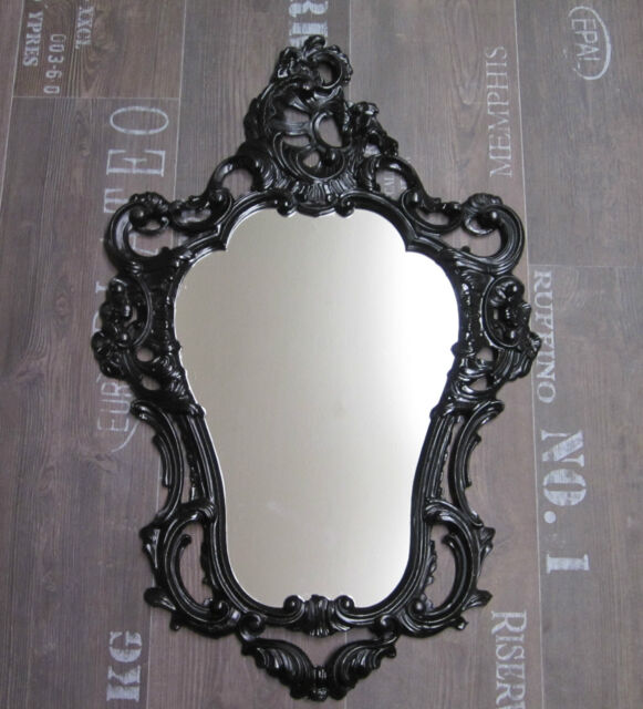 ANTIQUE WANDSPIEGEL Barock WALL MIRROR Gilt White Black Silver Ornate ...
