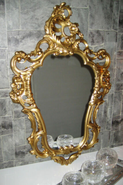 Antique Baroque Wall Mirror Gilt White Black Silver Ornate