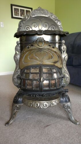 "ANTIQUE CAST IRON ORNATE NICKEL GAS PARLOR STOVE RADIANT FAVORITE 216 PIQUA 36"" in Antiques, Home & Hearth, Stoves 