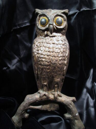 ANTIQUE CAST IRON OWL ANDIRON GUARD STATUE NO. 29 YELLOW EYES ORIGINAL PANTINA in Collectibles, Animals, Birds | eBay