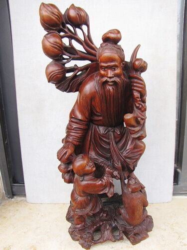 "ANTIQUE CHINESE CARVED ROSEWOOD OX-BONE MAN,CHILD,MONKEY FIGURINE STATUE H-16"" in Collectibles, Cultures & Ethnicities, Asian 
