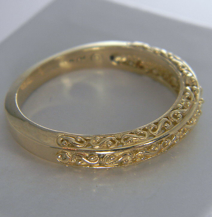 ANTIQUE STYLE FILIGREE CARVED WEDDING BAND SOLID 14K YELLOW GOLD