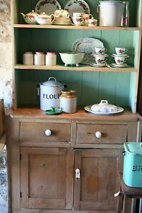 ANTIQUE-VICTORIAN-PINE-DRESSER-stripped-CABINET-cupboard-country-VINTAGE-chic