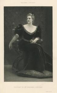 ANTIQUE-VICTORIAN-WOMAN-PORTRAIT-BLACK-EVENING-GOWN-GLOVE-ROSE-FOOT-PILLOW-PRINT