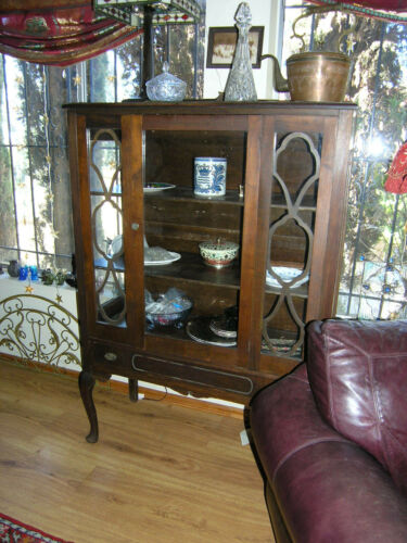 ANTIQUE VINTAGE SOLID WOOD CURIO DISPLAY CHINA CABINET in Antiques, Furniture, Cabinets & Cupboards | eBay
