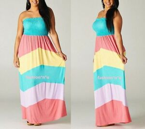 Strapless Maxi Dress on Color Block Chevron Smoke Tube Strapless Summer Maxi Dress Plus   Ebay