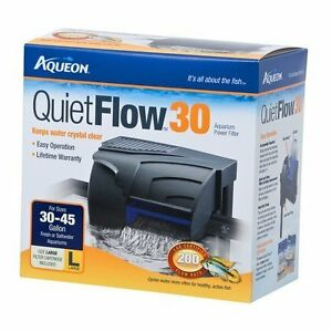 Aqueon quiet flow 30 fish aquarium filter up to 45 gallons for Quiet fish tank filter
