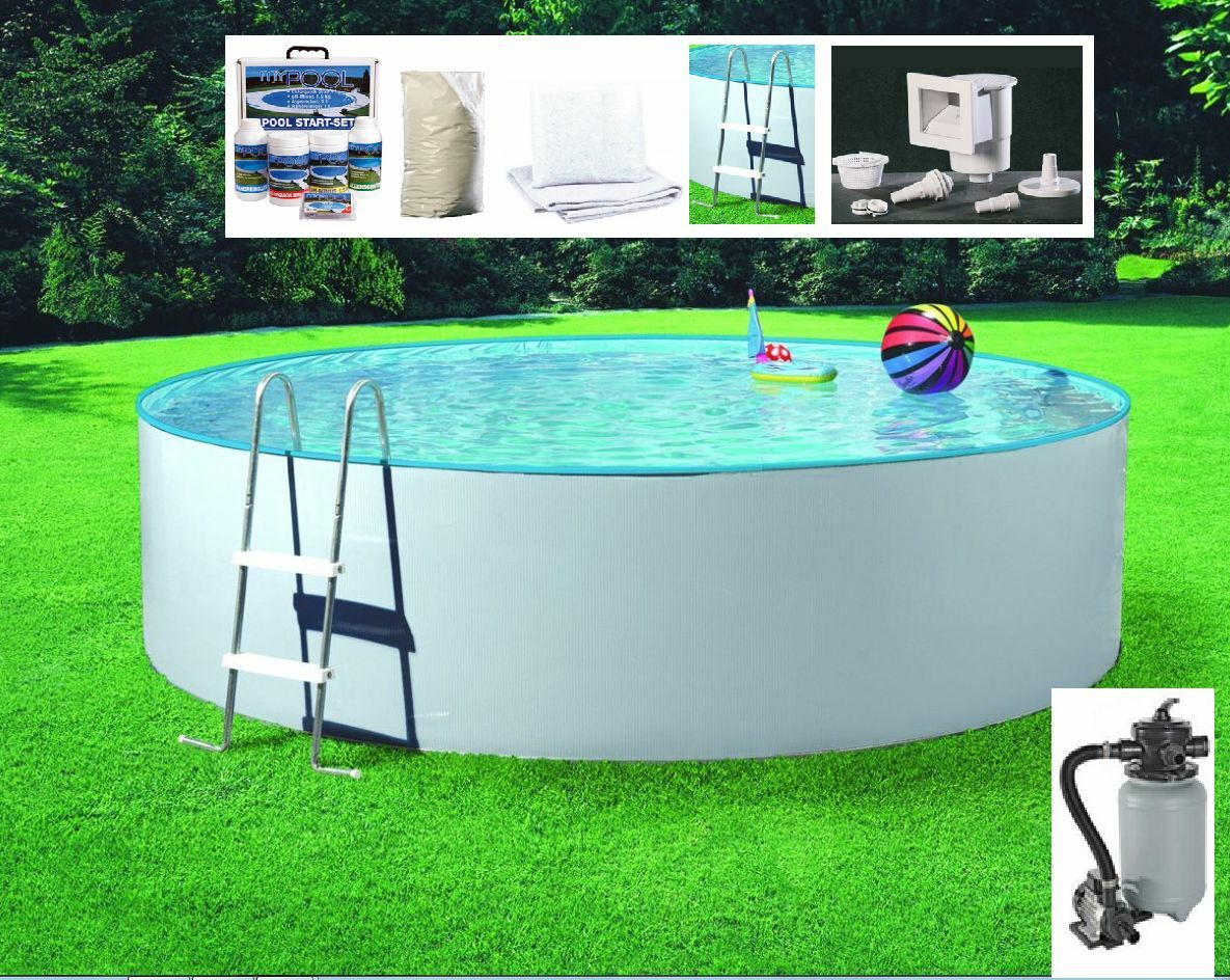 arcana pool komplettset splash stahlwand gartenpool stahlwandbecken sandfilter ebay. Black Bedroom Furniture Sets. Home Design Ideas