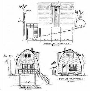 Arch rafter house cabin plans blueprints modified a frame for Modified a frame cabin
