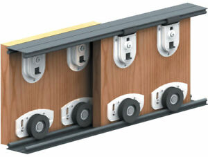 ares 2 sliding door roller gear track internal kit 2 panel wardrobe cupboard ebay. Black Bedroom Furniture Sets. Home Design Ideas