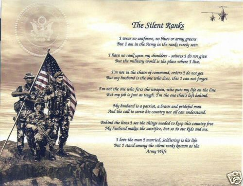 ARMY WIFE SILENT RANKS Poem Personalized Print Name