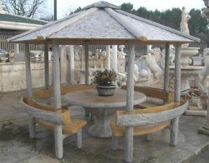 Arredo da giardino no pietra gazebo effetto legno con tavolo panchine e fioriere ebay - Tavolo in pietra giardino ...