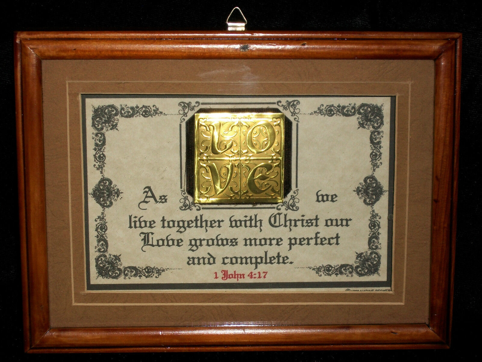 Verse Scripture Plaque Gold Embossed Love Letters Shadow Box
