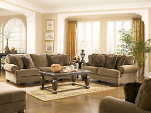 Traditional tan cottage chenille sofa couch set living room furniture